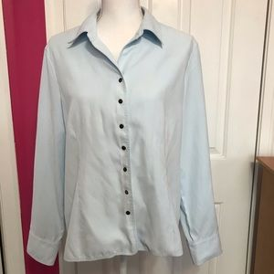 TALBOTS Microsuede Button Down, Baby Blue Top